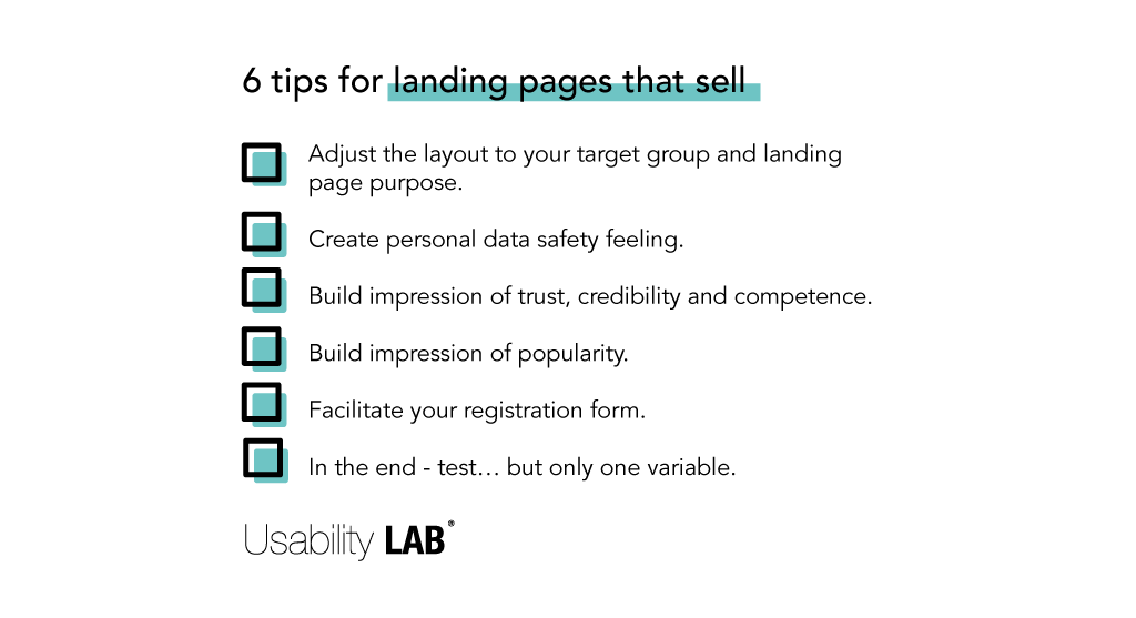 6 tips for landing pages that sell - Usability LAB